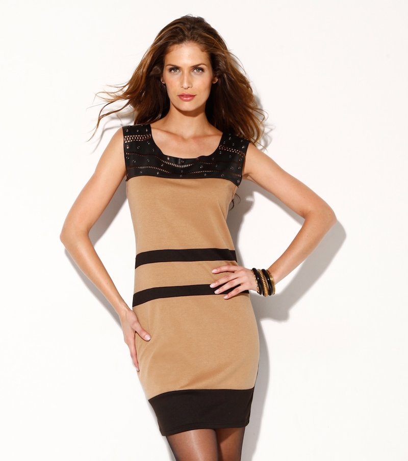 Vestido mujer punto y símil piel con remaches