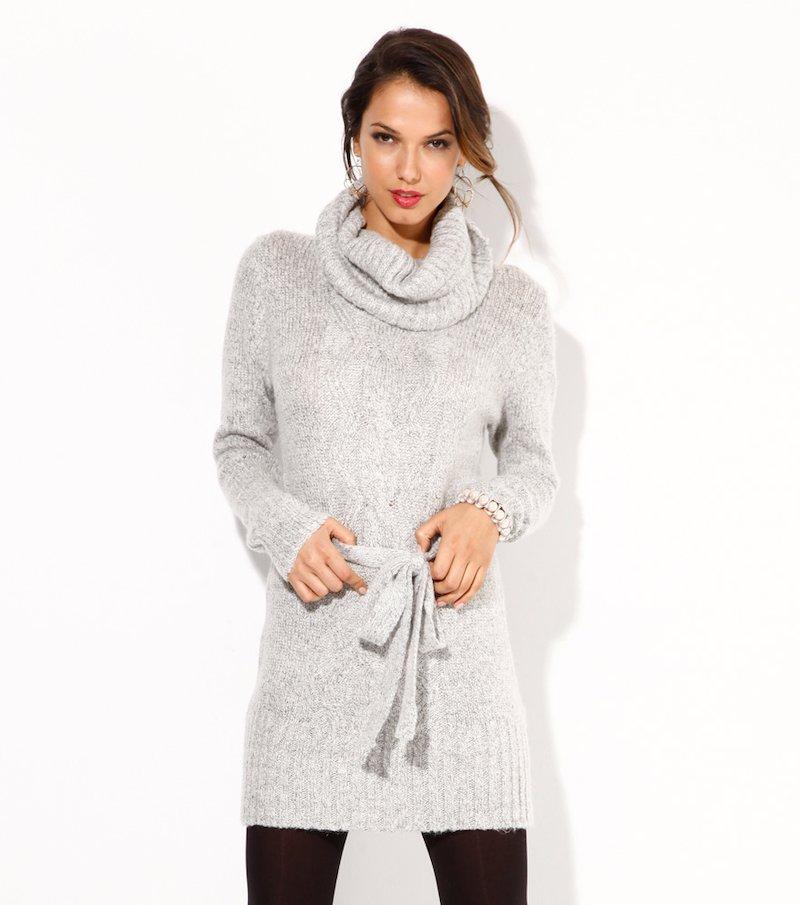 Vestido mujer manga larga tricot con cinturón