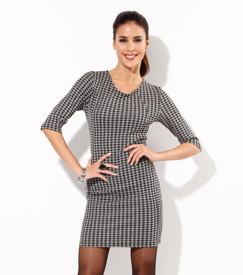 Vestido mujer manga 3/4 punto pata de gallo - Negro