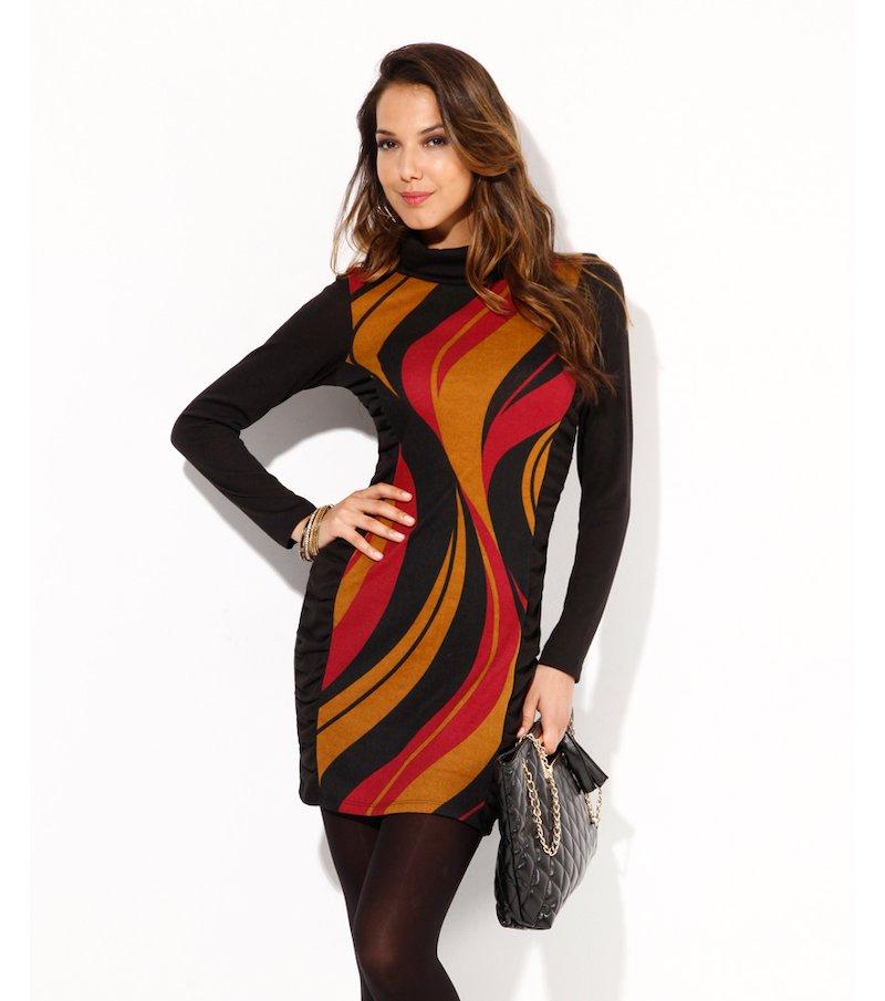 Vestido mujer manga larga fino tricot estampado