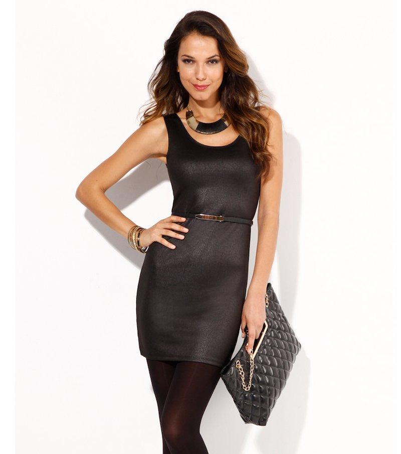 Vestido de fiesta mujer sin mangas punto fantasía - Negro