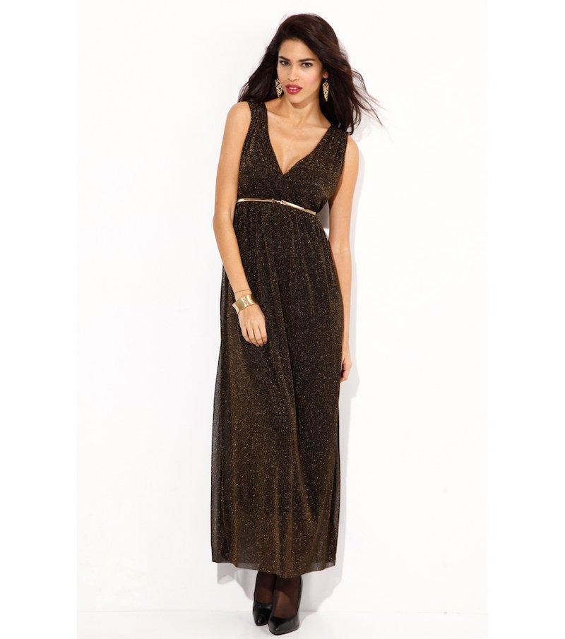 Vestido largo mujer sin mangas de punto dorado