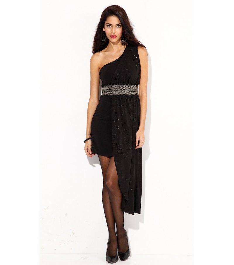 Vestido de fiesta mujer sin mangas con estola - Negro