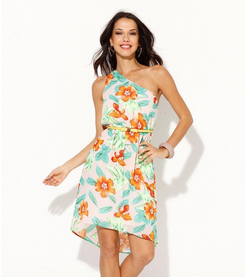 Vestido mujer escote asimétrico