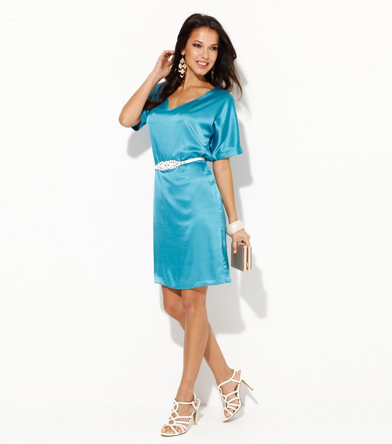 Vestido para mujer manga corta satén