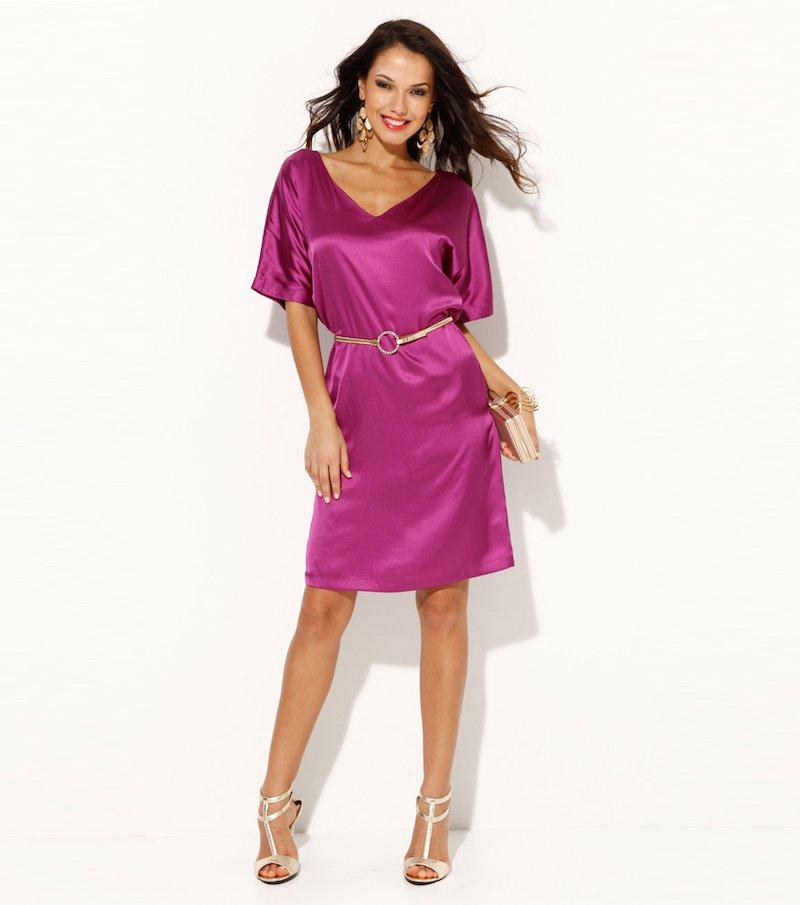 Vestido para mujer manga corta satén - Lila