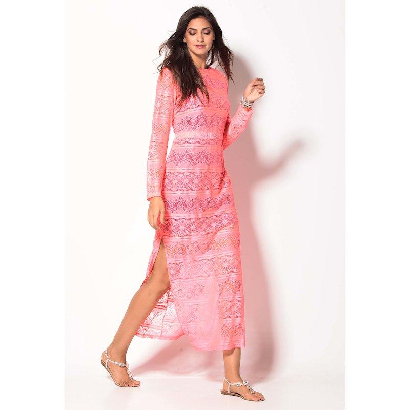 Vestido largo mujer encaje rosa flúor