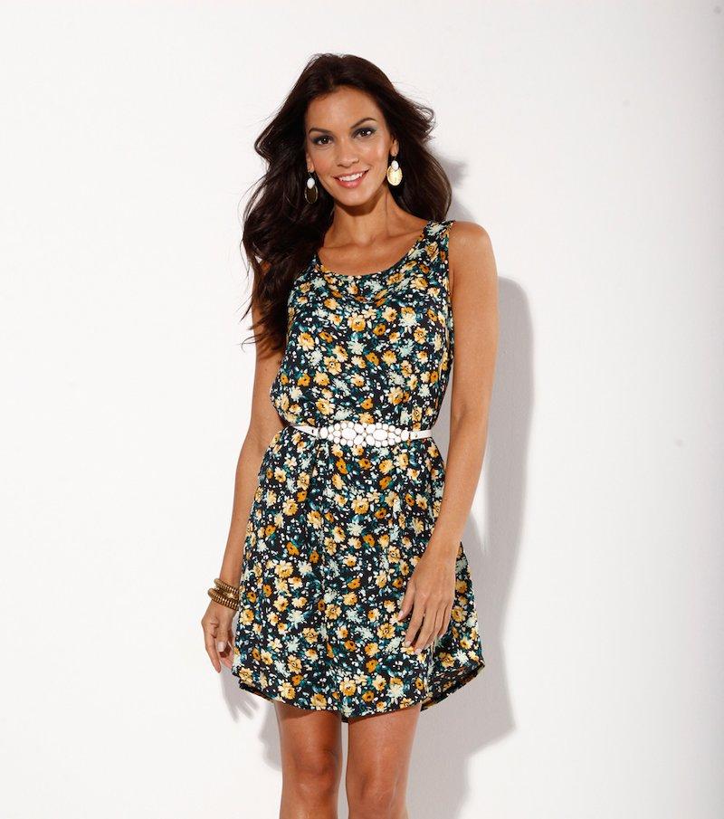 Vestido mujer sin mangas estampado flores cinturón