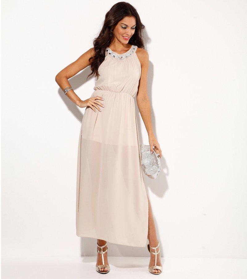 Vestido largo de fiesta mujer con pedrería beige