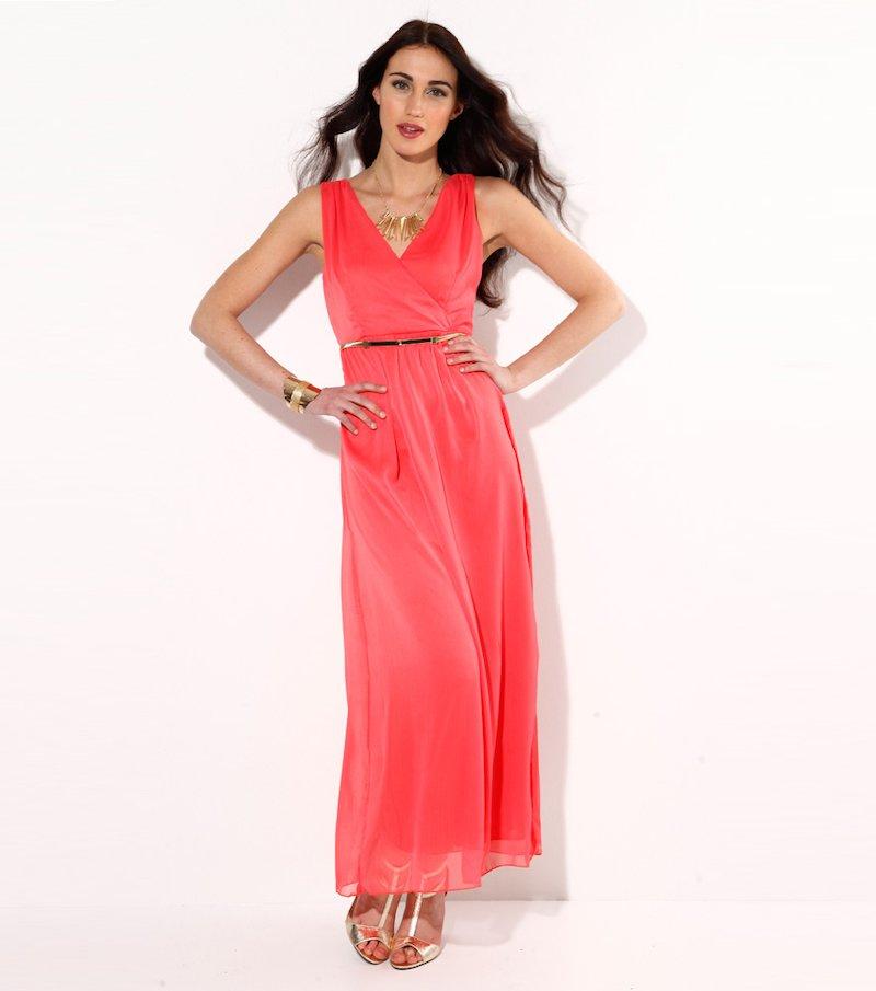 Vestido largo mujer sin mangas coral