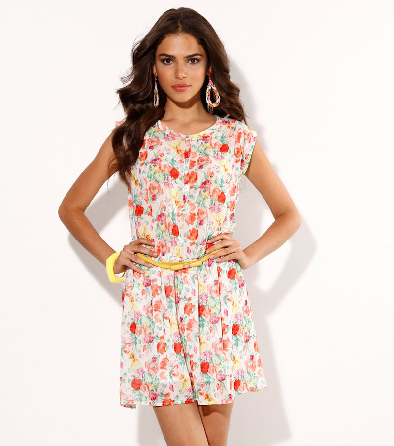 Vestido mujer sin mangas estampado flores