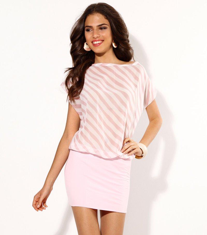 Vestido mujer manga corta rayas con falda de punto - Rosa