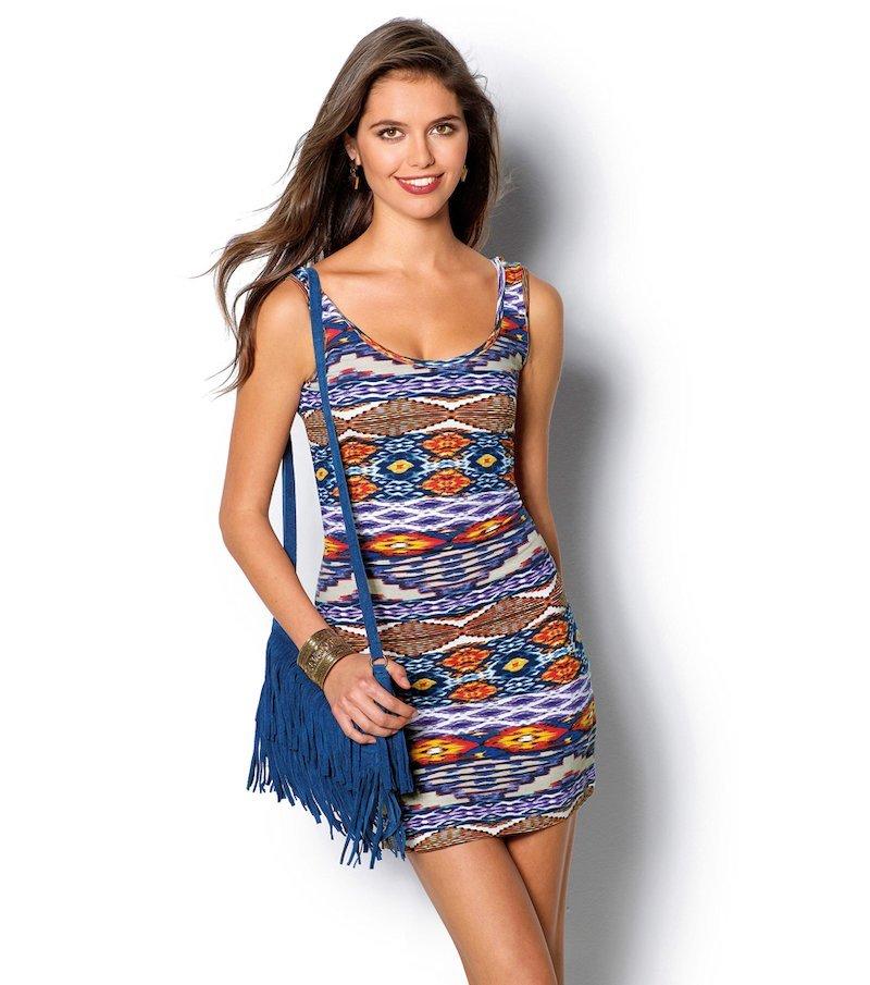 Vestido mujer sin mangas punto estampado étnico - Azul