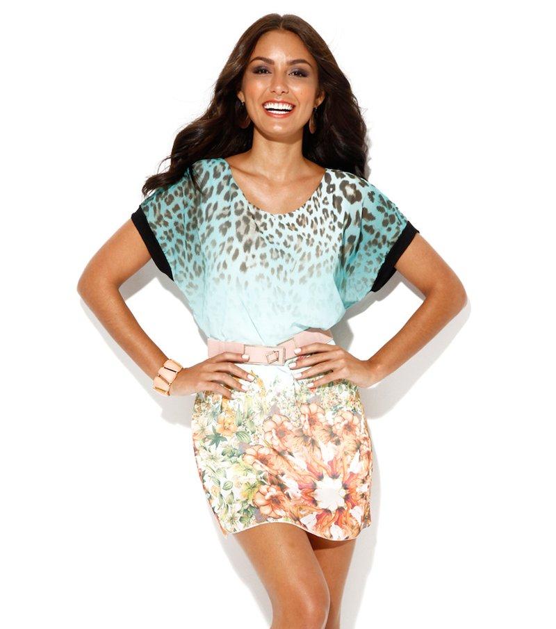 Vestido mujer manga corta multicolor con cinturón