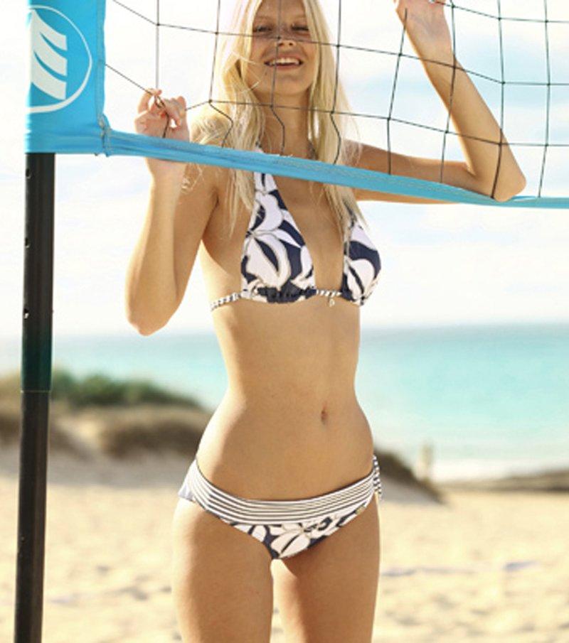 Braga bikini de mujer estampado con cintura y tiras de rayas