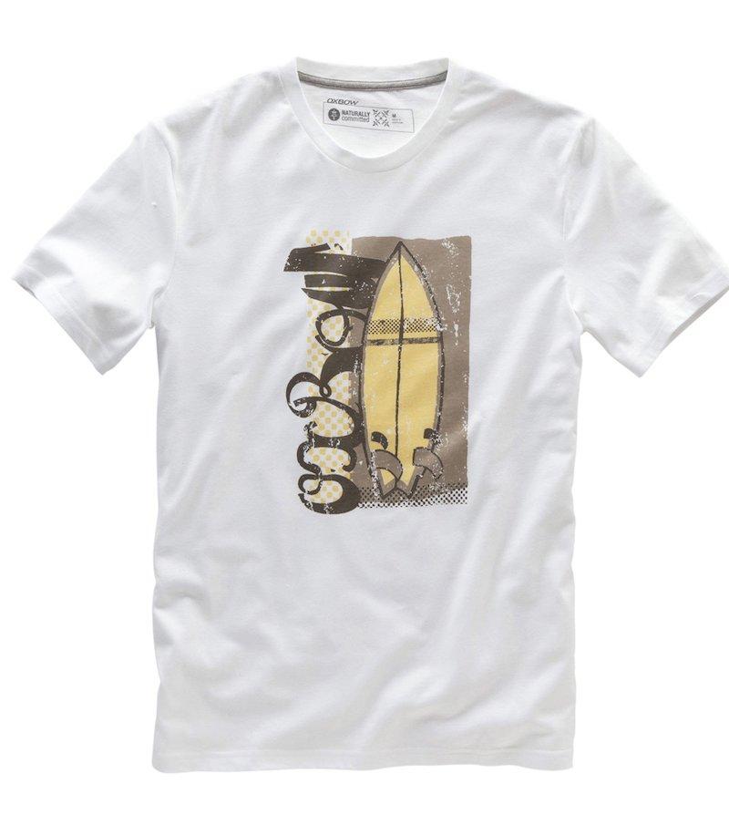 Camiseta de hombre algodón orgánico estampado frontal tabla