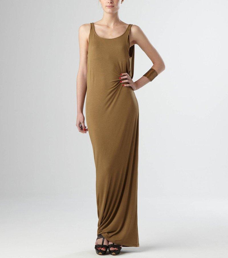 Vestido largo con pieza efecto doble en la espalda de encaje