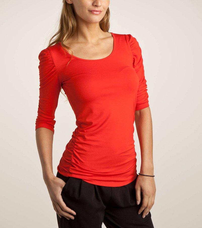 Camiseta larga de mujer  de manga 3/4 con fruncidos