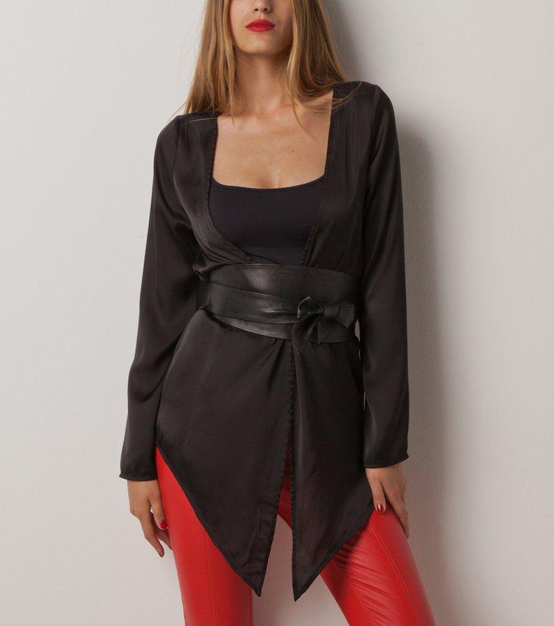 Camisa negra tipo kimono TOP STUDIO mujer