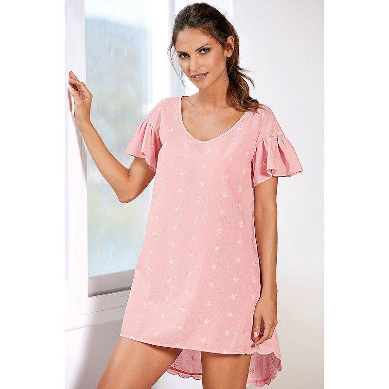Camisón corto romántico mujer en algodón cambric