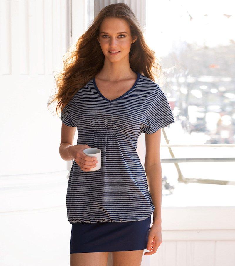 Camisón mujer manga corta de algodón - Azul