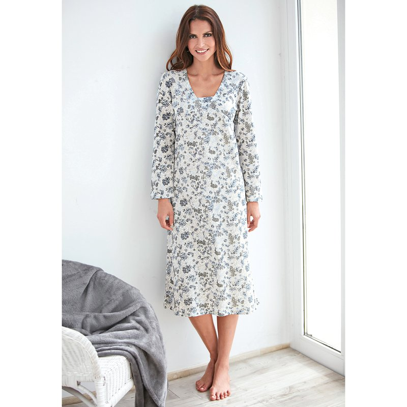 Camisón mujer manga larga de algodón estampado