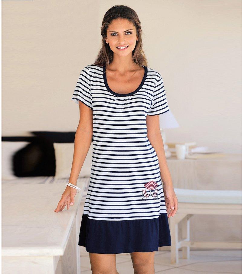 Camisón mujer manga corta estampado 100% algodón