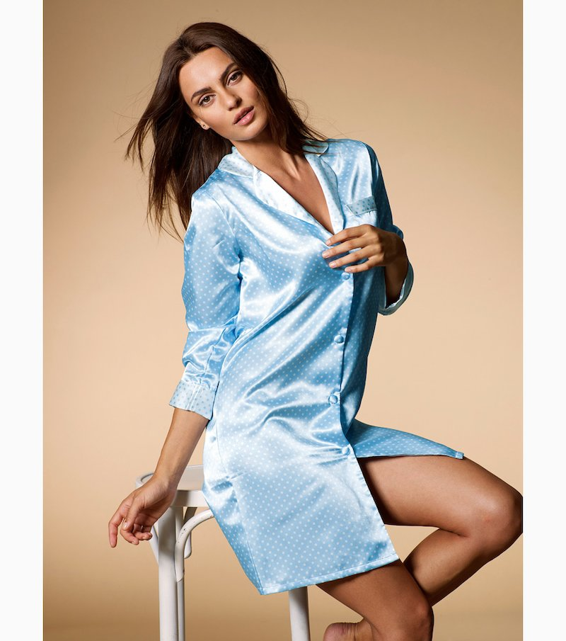 Camisola mujer manga larga en satén - Azul