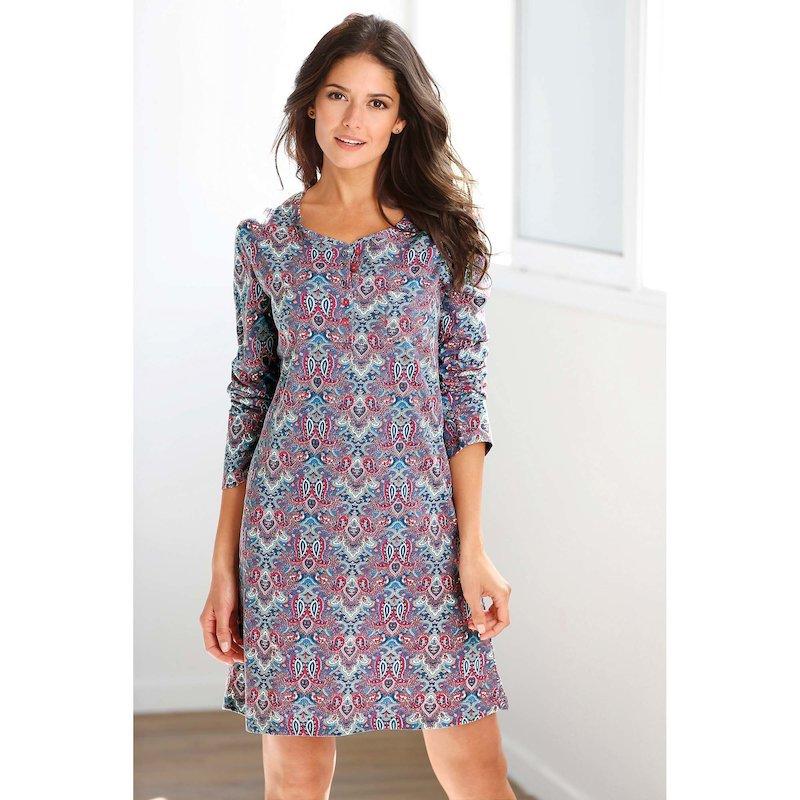 Camisón mujer manga larga de algodón