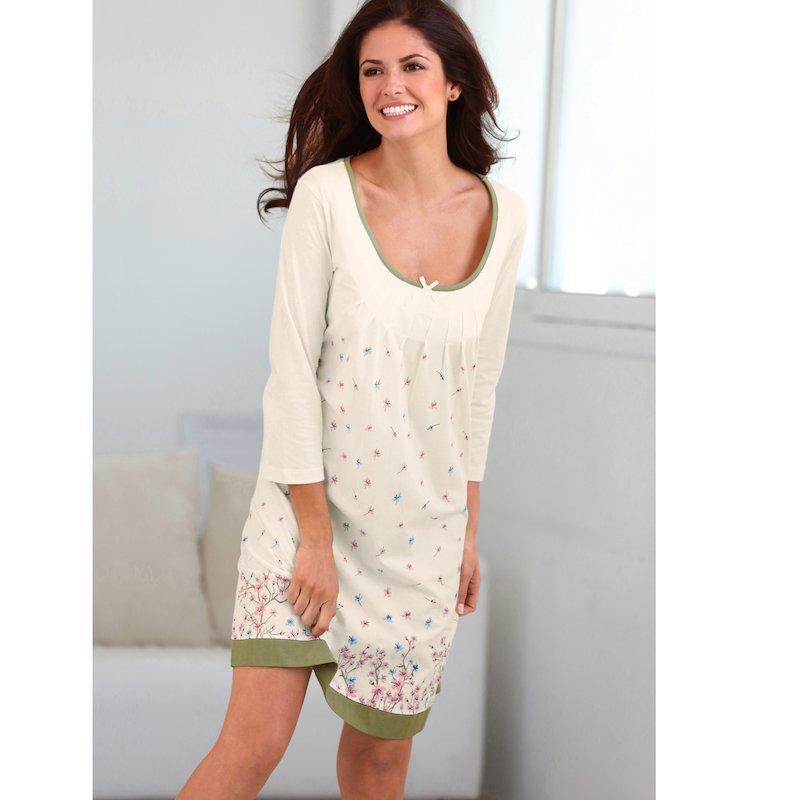 Camisón corto de algodón mujer estampado con lazo
