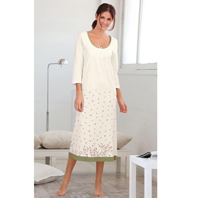 Camisón largo de algodón mujer manga 3/4 estampado