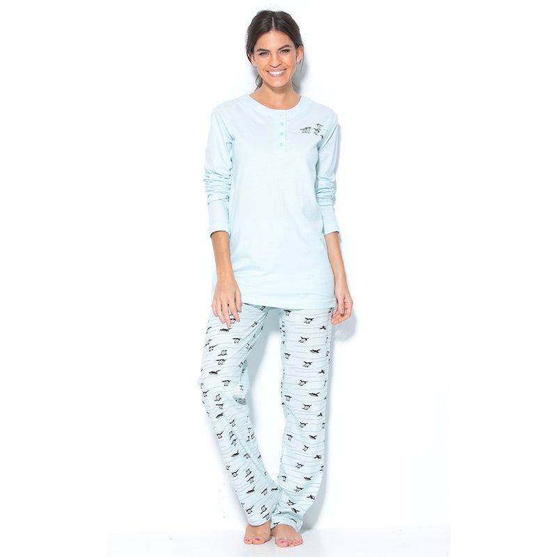 Pijama 2 piezas mujer camiseta larga y pantalón largo pingüi