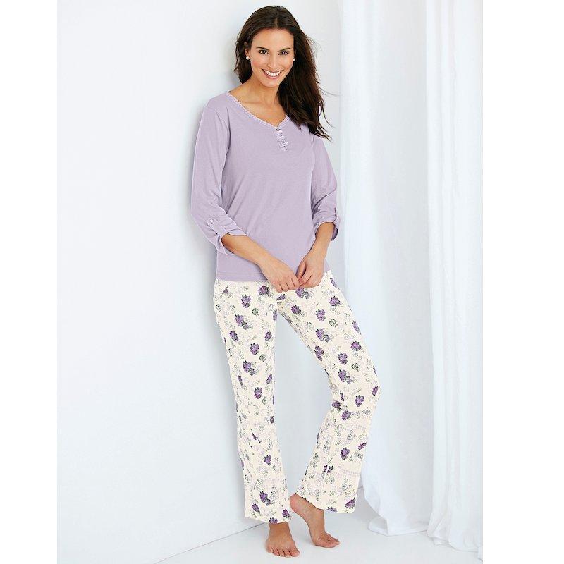 Pijama de mujer 2 piezas con detalles de encaje