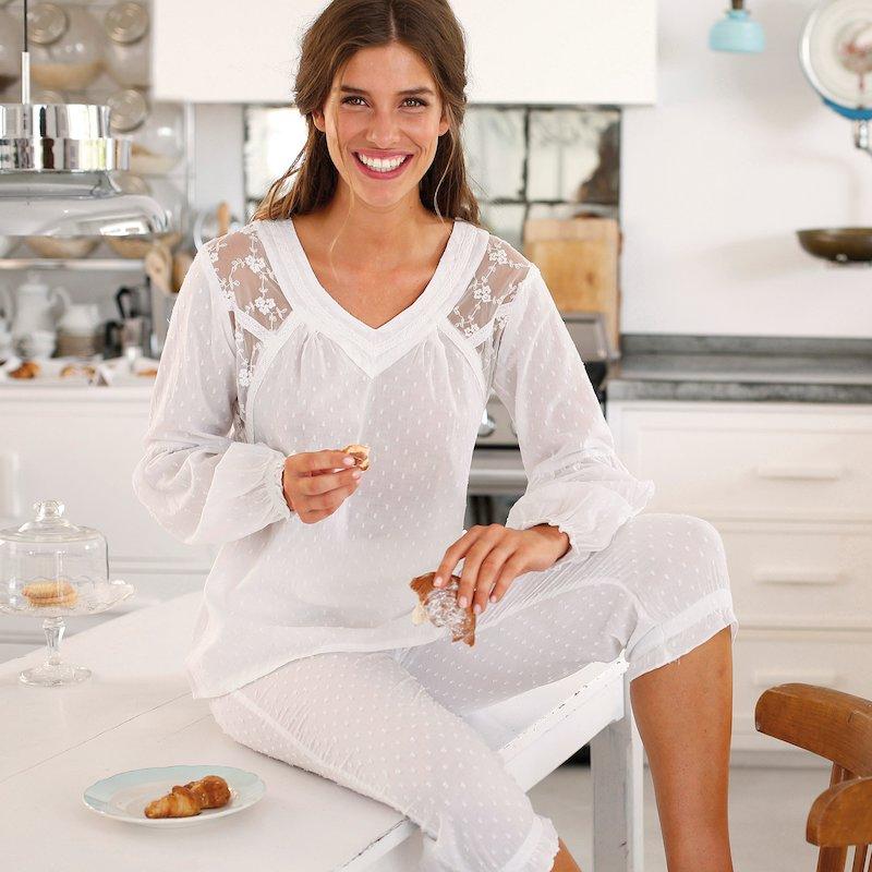 Pijama 2 piezas manga larga mujer de algodón
