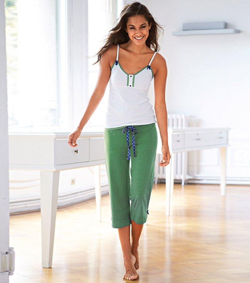 Pijama largo 2 piezas mujer con tirantes y lacitos