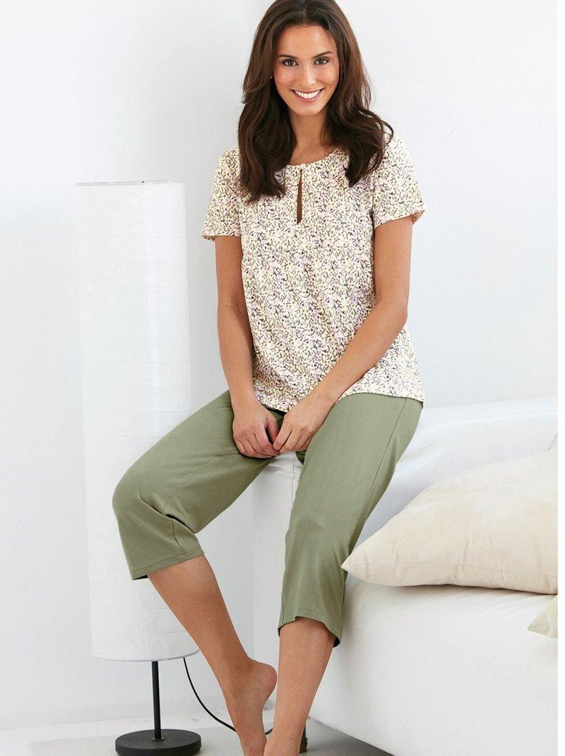 Pijama mujer camiseta manga corta y pantalón corsario