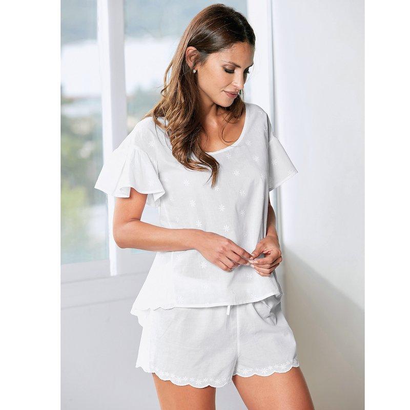 Pijama corto de algodón mujer en cambric bordado