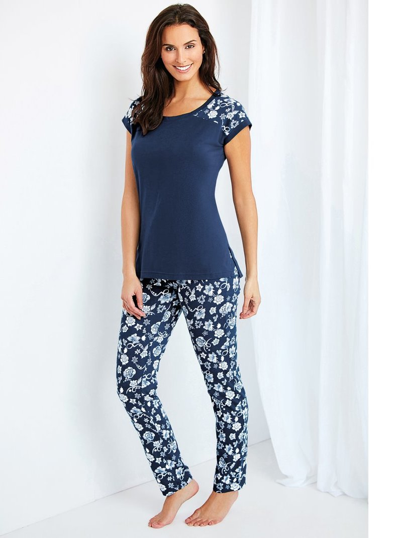 Pijama 2 piezas de punto mujer liso y flores - Azul