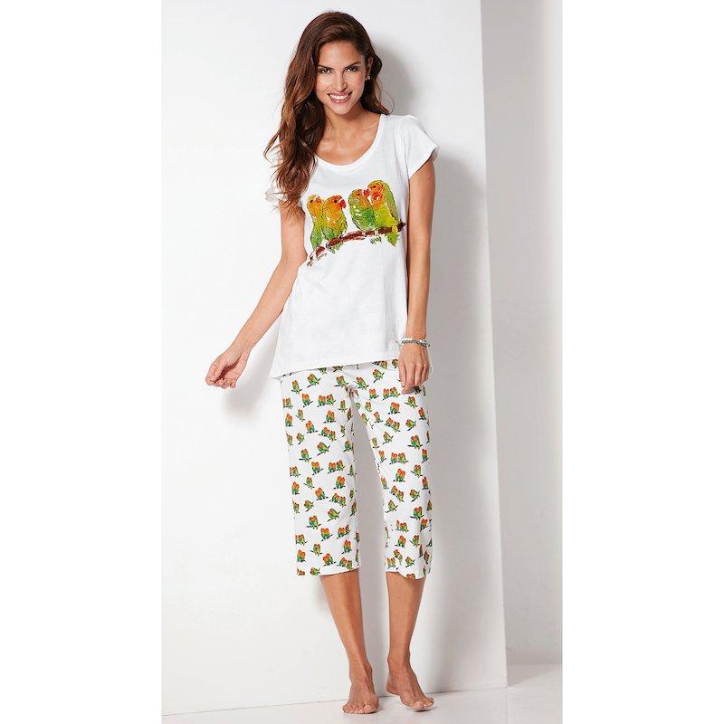 Pijama de pantalón corsario en algodón mujer - Blanco