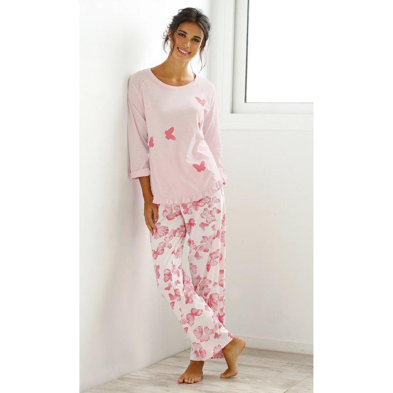 Pijama largo de mujer estampado con mariposas 100% algodón