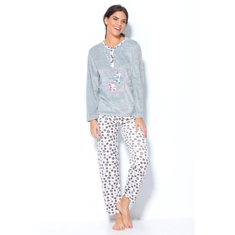 Pijama 2 piezas aterciopelado con motivos bordados