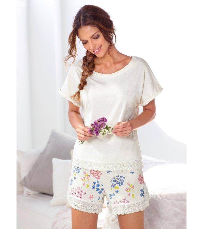 Pijama corto 2 piezas mujer bordado