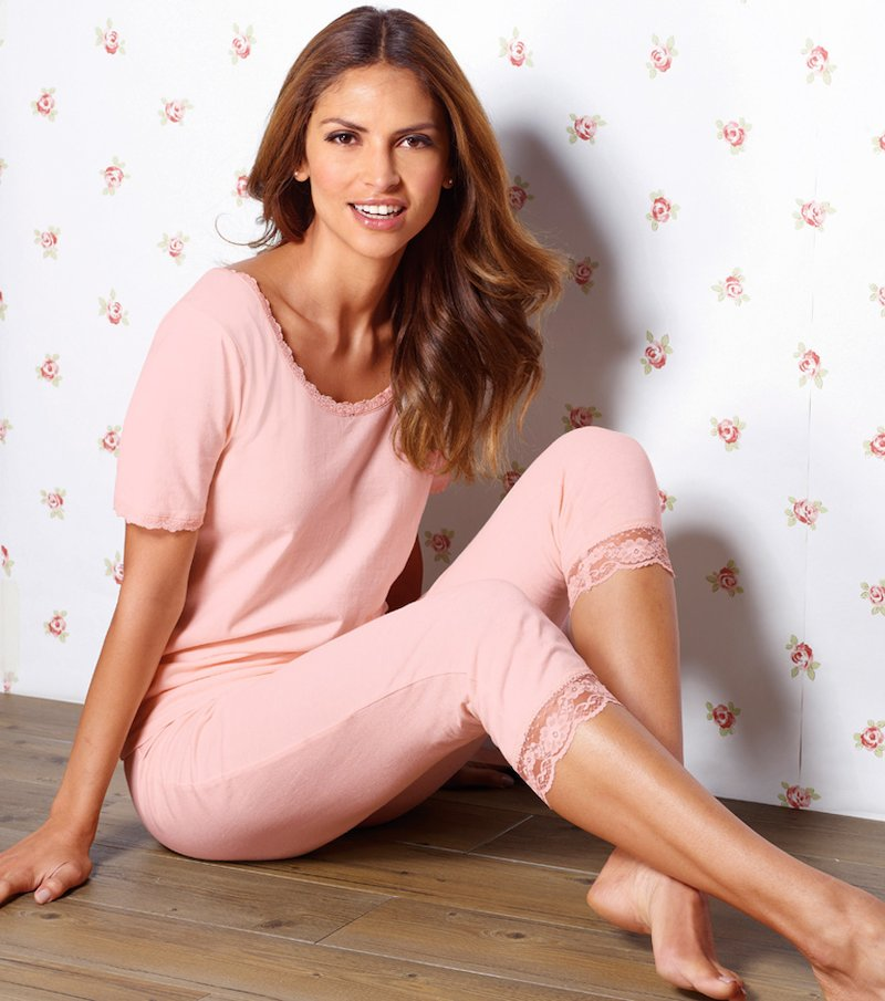 Pijama 2 piezas mujer manga corta con encaje