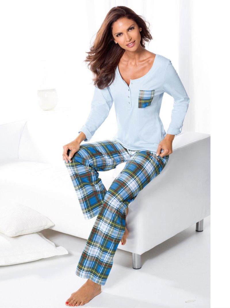 Pijama largo 2 piezas mujer 100% algodón cuadros