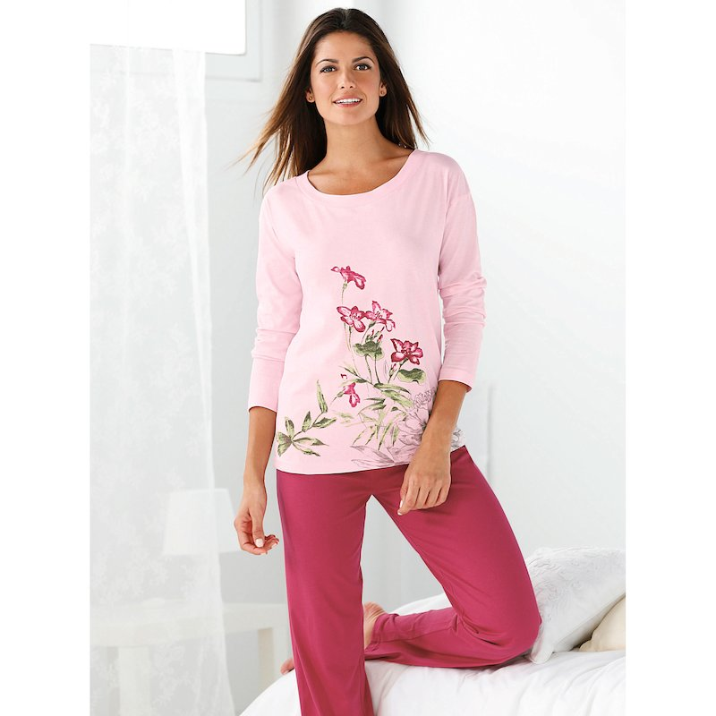 Pijama mujer manga larga estampado diseño floral