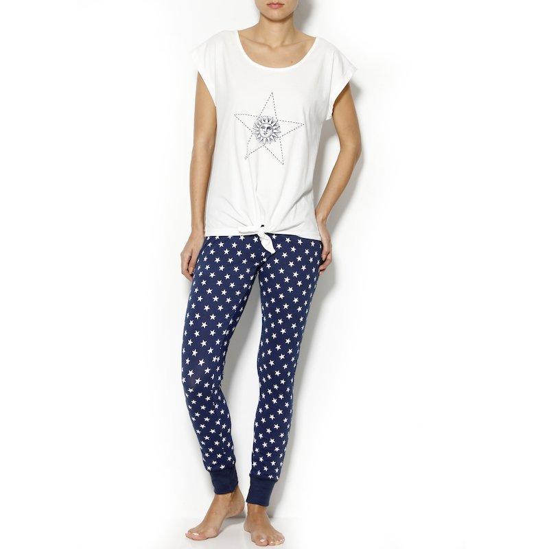 Pijama manga corta mujer estrellas algodón