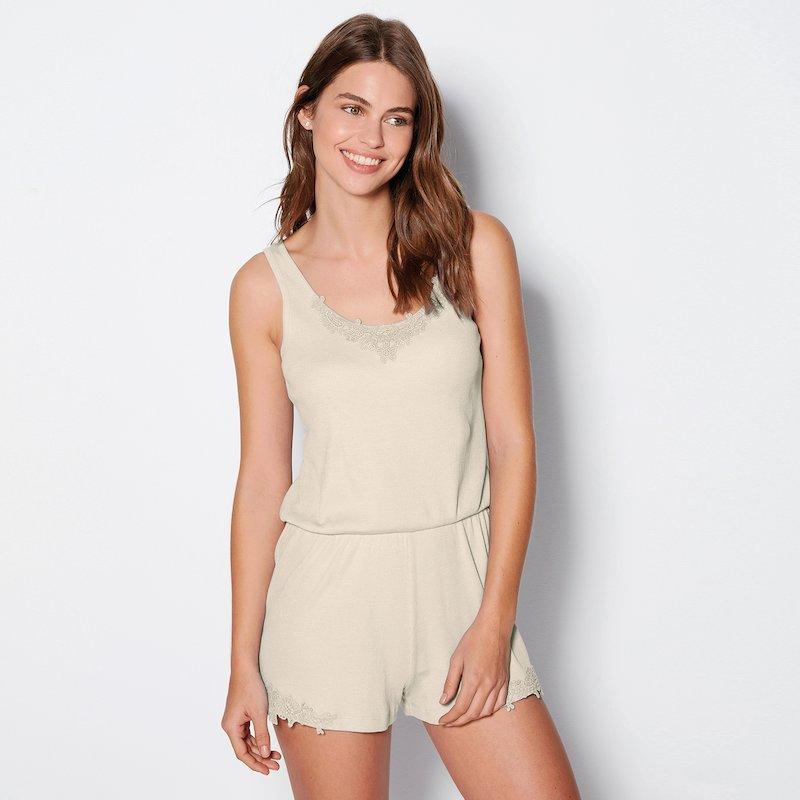 Pijama mono corto mujer punto canalé con guipur
