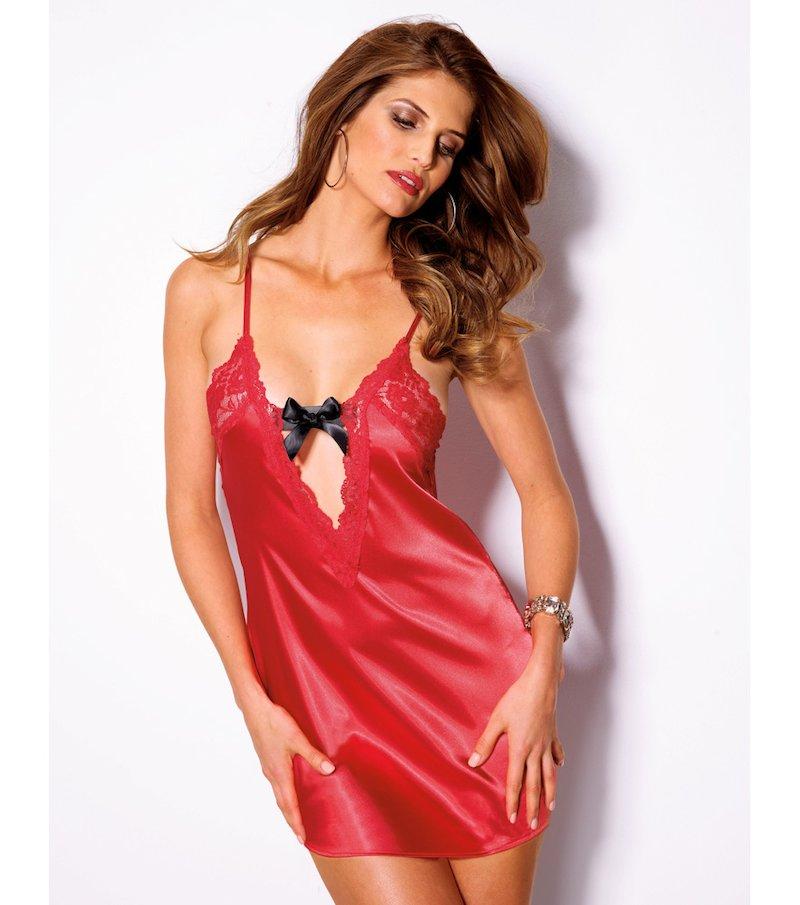 Conjunto sexy mujer camisón y tanga en satén
