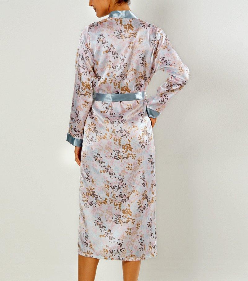 Bata larga quimono mujer de satén