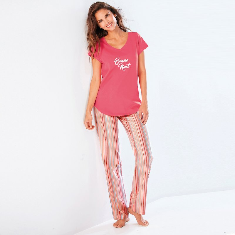Pantalón largo de pijama para mujer de rayas